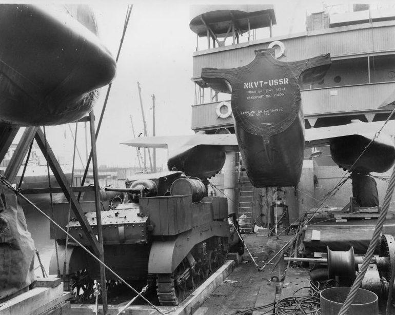 Американский военный груз, приготовленный для отправки в СССР. 1941 г.