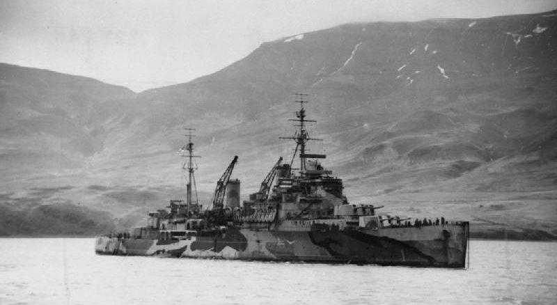 Легкий крейсер «Trinidad» из арктического конвоя PQ-8. Январь 1942 г.