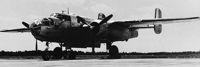 Бомбардировщик Норт Американ B-25 «Митчелл», поставляемый в СССР. 1942 г.