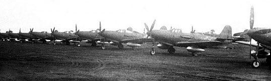 Аэродром с американскими самолетами, подготовленными к перегону. 1942 г.