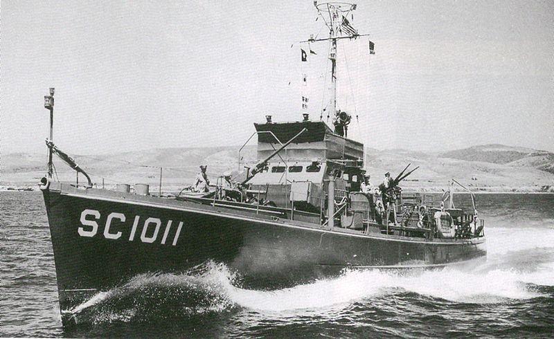 Противолодочный корабль USS SC-1011, служивший в СССР под обозначением БО-327 (большой охотник). Июль 1945 г.